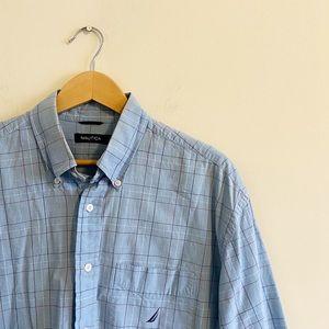 Nautica plaid button up dress shirt! Size XL